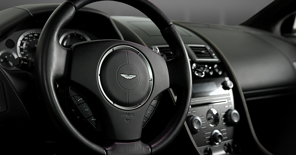 Aston Martin inside view steering wheel