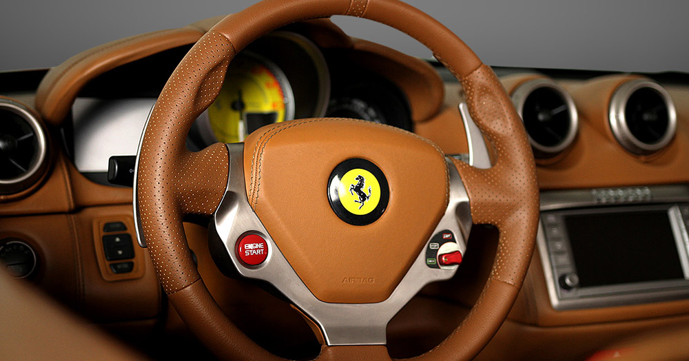 Ferrari California inside steering wheel views